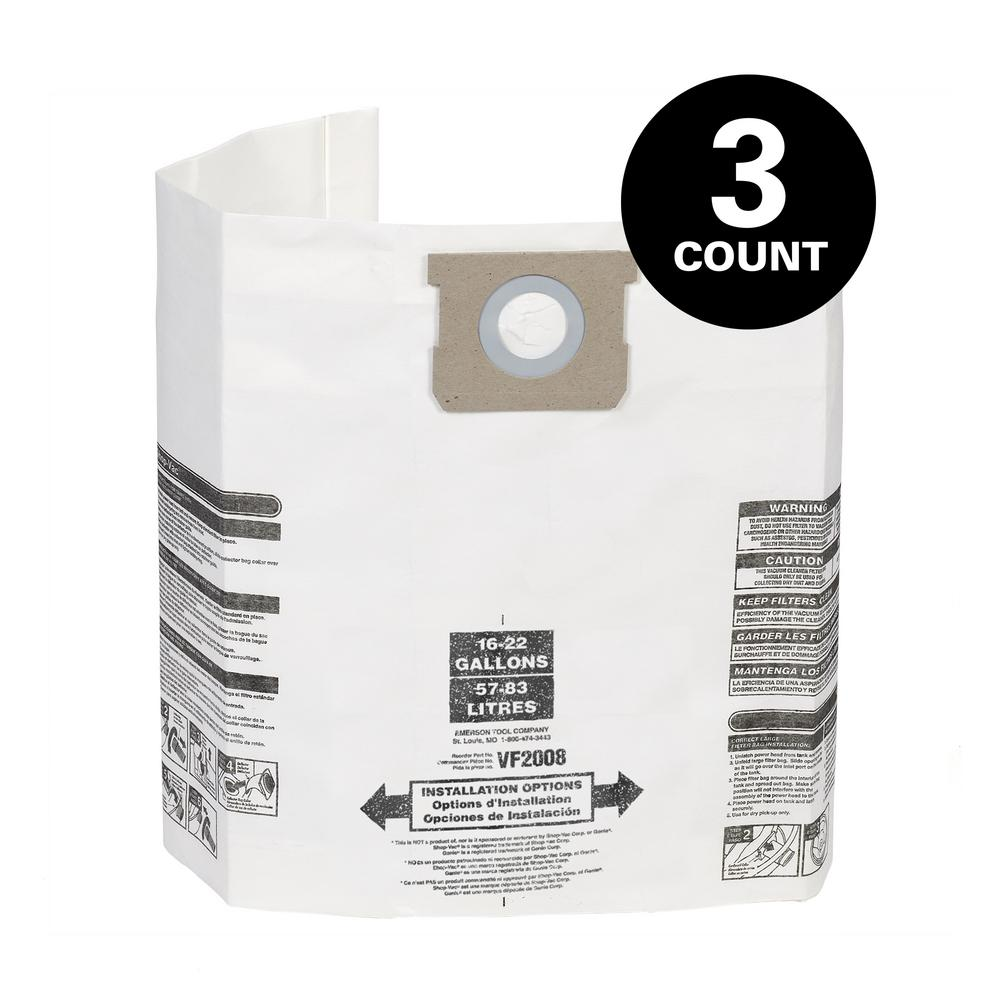 15 x SHOPVAC Classic Vacuum Cleaner Dust Bags Canister Hoover ZR-80 20 30 Pro