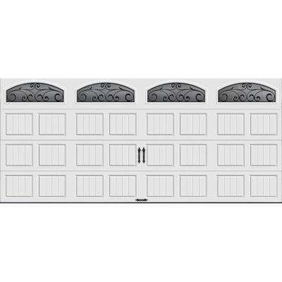 Gallery Collection 16 ft. x 7 ft. 6.5 R-Value Insulated White Garage Door with Wrought Iron Window