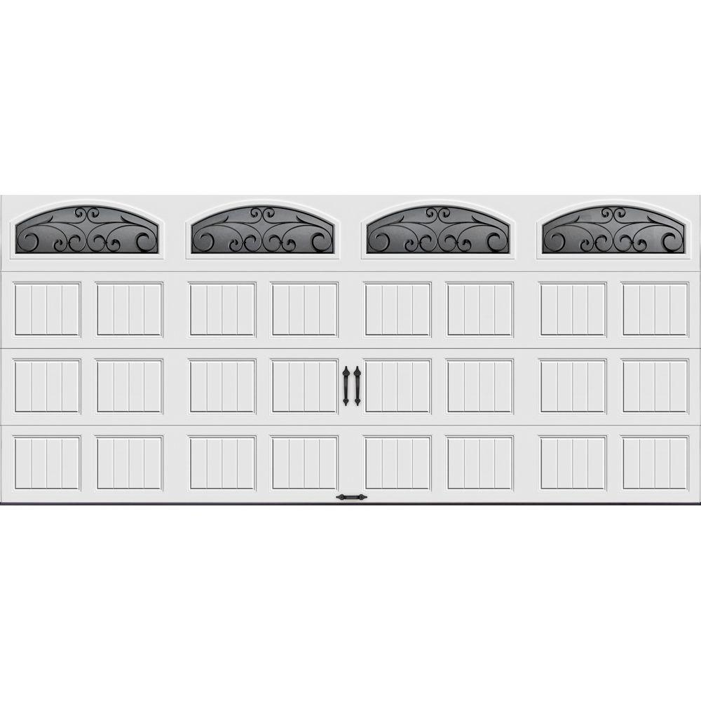 Clopay Gallery Collection 16 ft. x 7 ft. 18.4 R-Value Intellicore Insulated White Garage Door with Wrought Iron Window