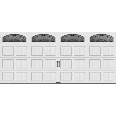 Gallery Collection 16 ft. x 7 ft. 18.4 R-Value Intellicore Insulated White Garage Door with Wrought Iron Window