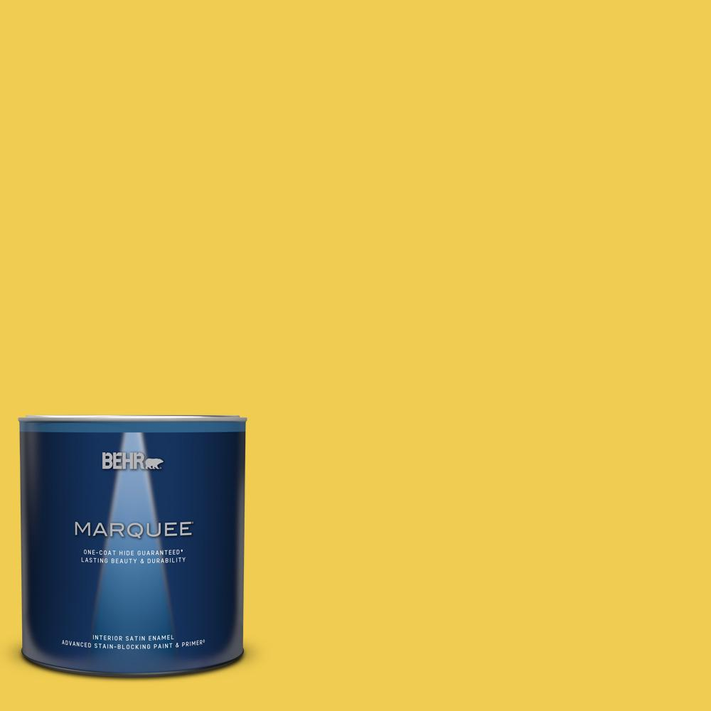BEHR MARQUEE 1 qt. #P310-6 Radiant Sun Satin Enamel Interior Paint and Primer in One