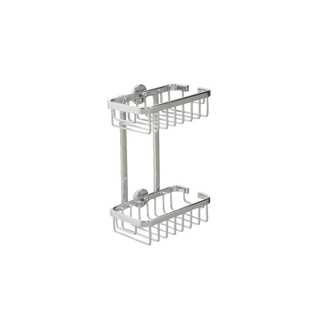 Croydex 9.75 in. H x 7 in. W x 4 in. D Aluminum Slim 2-Tier Basket in Chrome