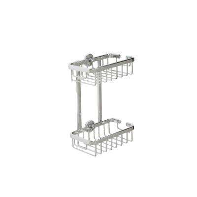 9.75 in. H x 7 in. W x 4 in. D Aluminum Slim 2-Tier Basket in Chrome