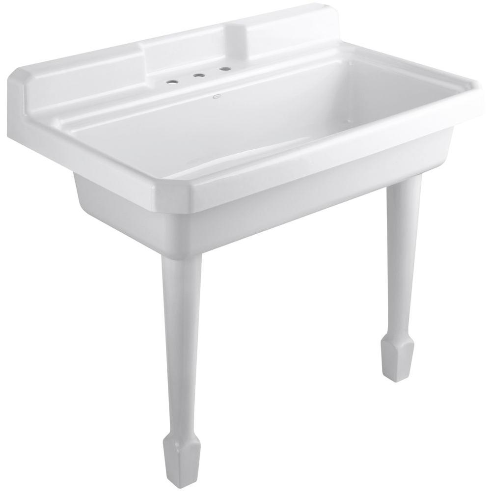 Cast Iron Top Mount/Wall Mount Utility Sink In White