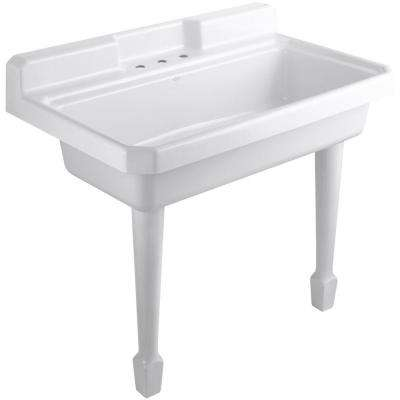 Harborview 48 in. Cast-Iron Top Mount/Wall Mount Utility Sink in White
