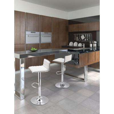 Equation Adjustable Height White Cushioned Bar Stool