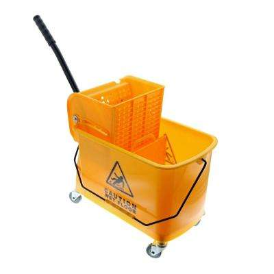 24 Qt. Wheeled Mop Bucket with Wringer and Removable Divider