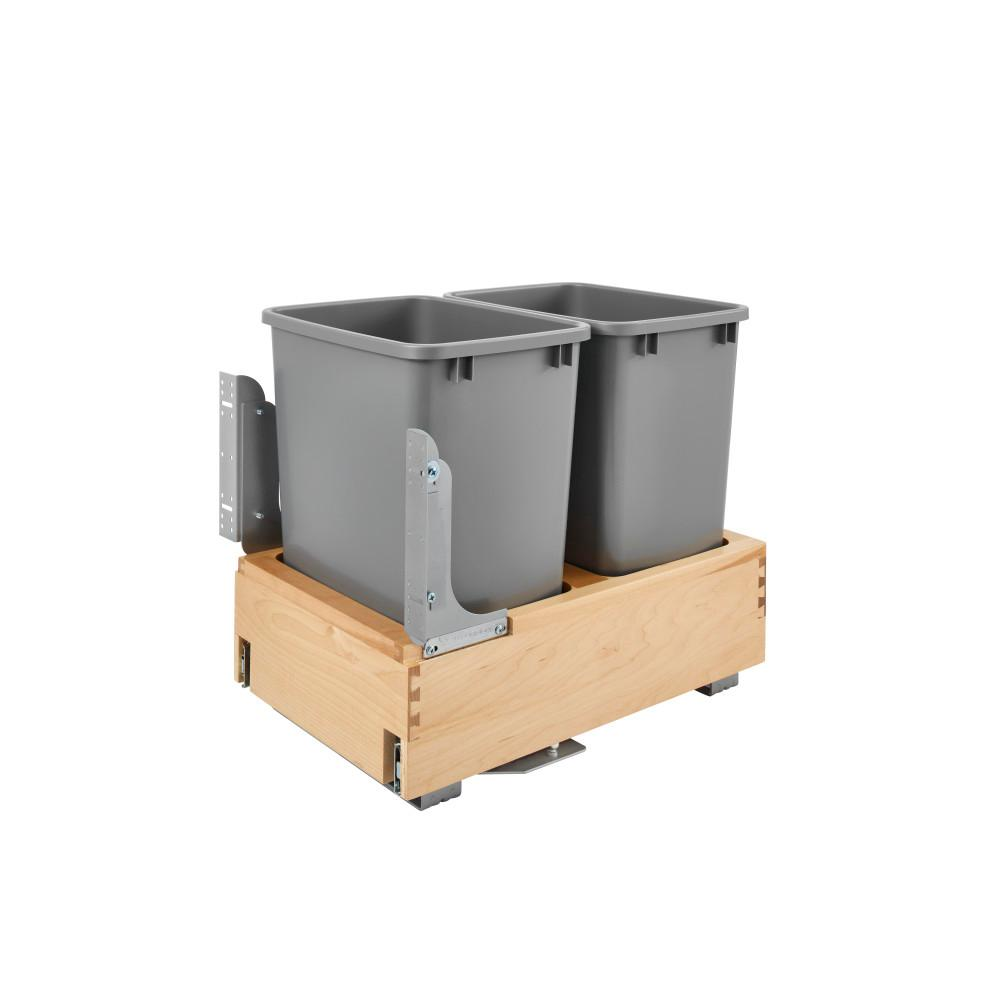 Rev-A-Shelf 19.25 in. H x 14.25 in. W x 21.75 in. D Double 35 Qt. Pull-Out Bottom Mount and Silver Waste Container with Rev-A-Motion