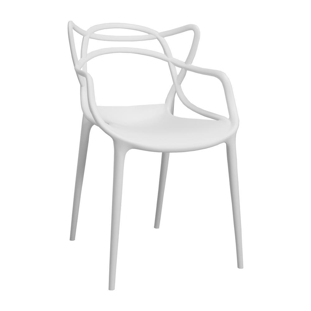 Modern Plastic White Loop Dining Side Chair (Set of 2)