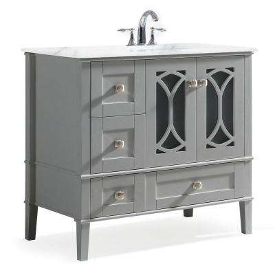 Paige 36 in. Right Offset Bath Vanity in Warm Grey with Marble Extra Thick Vanity Top in White with White Basin