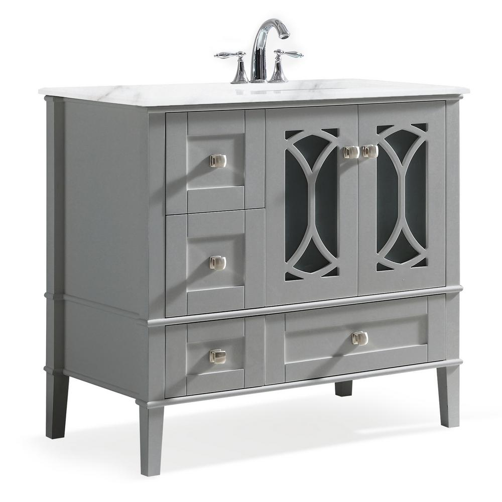 Simpli Home Paige 36 In Right Offset Bath Vanity In Warm Grey With