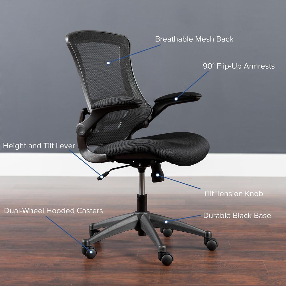Carnegy Avenue Black Mesh Plastic Office Desk Chair Cga Bl
