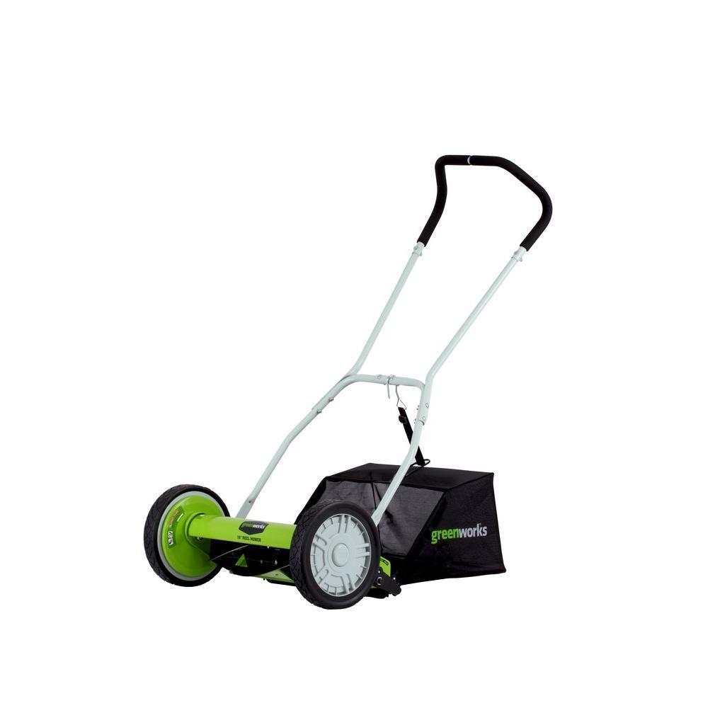Greenworks 16 inch Manual Push Walk Behind Reel Mower with Bag by Greenworks