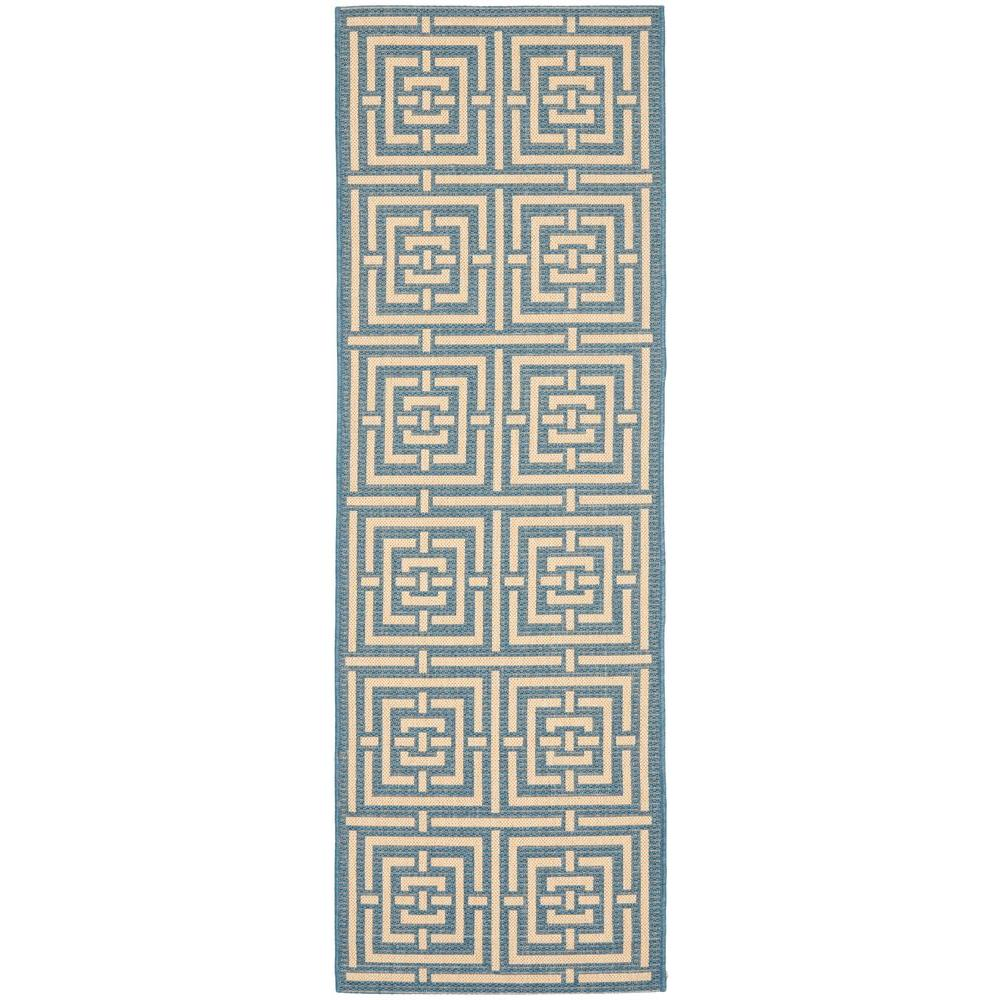 Courtyard Blue/Bone 2 ft. 3 in. x 10 ft. Indoor/Outdoor Runner