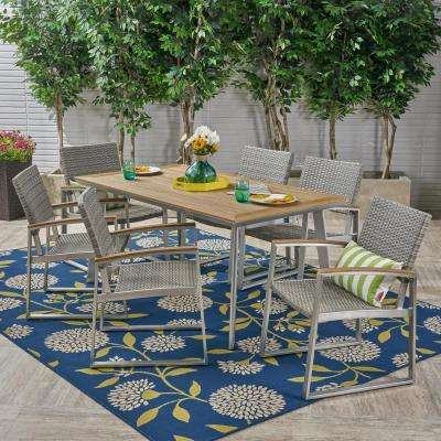 Leeds Silver 7 Piece Aluminum And Grey Wicker Outdoor Dining Set With Faux Wood Table
