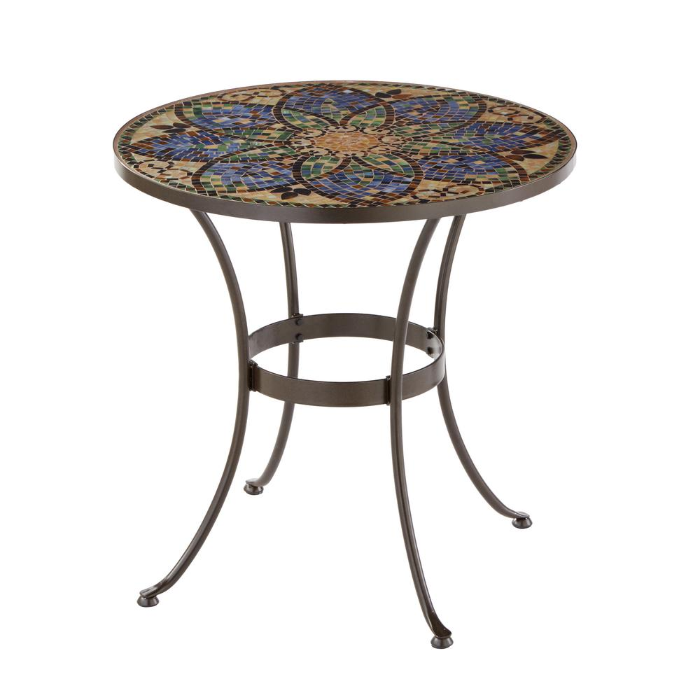 Hampton Bay Glass Mosaic Art 28 in. Outdoor Bistro Table