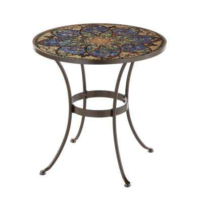 Glass Mosaic Art 28 in. Outdoor Bistro Table