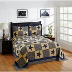 Star Collection  Blue & Gold Queen 100% Cotton Patchwork Bedspread Set