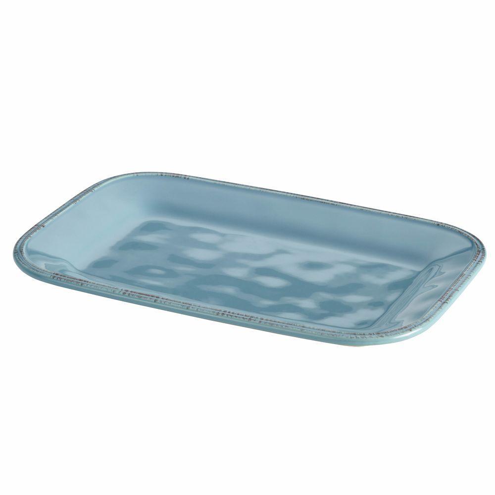 Rachael Ray Cucina Dinnerware 8 in. x 12 in. Stoneware Rectangular Platter in Agave Blue