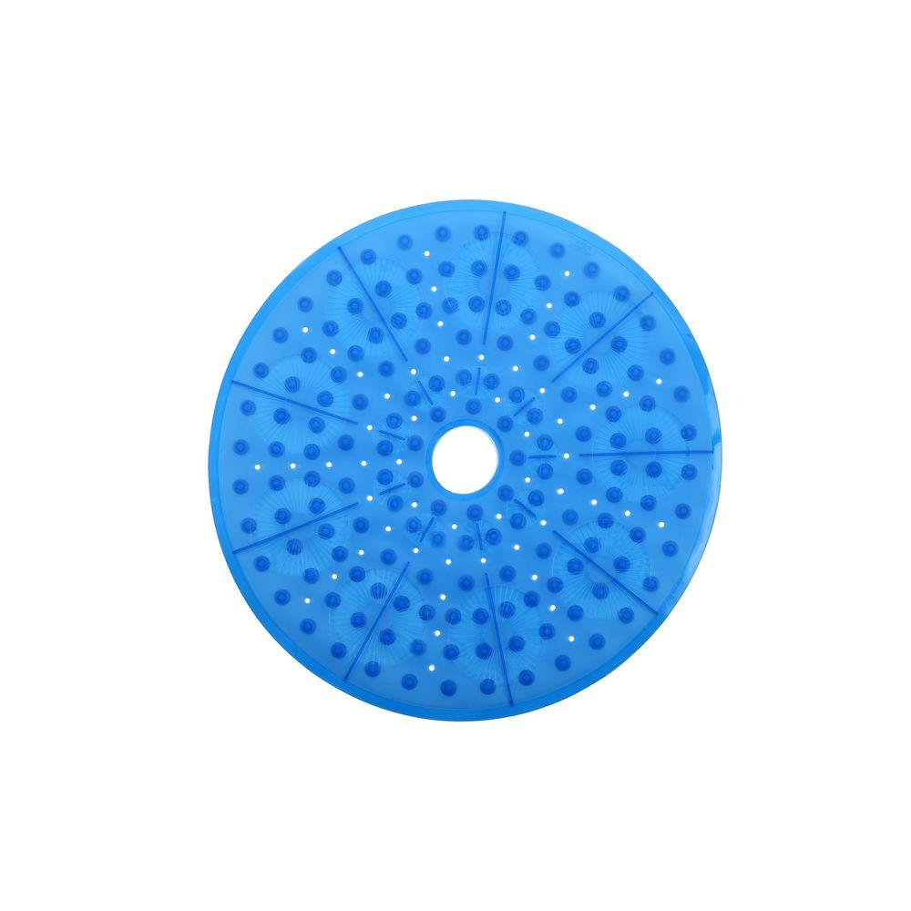 23 in. x 23 in. Essential Round Shower Mat in Blue