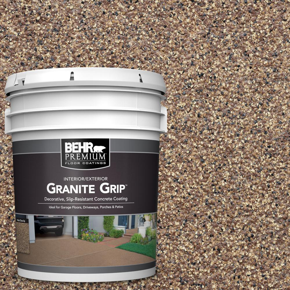 BEHR Premium 5 Gal. Tan Granite Grip Decorative Flat Interior/Exterior Concrete Floor Coating