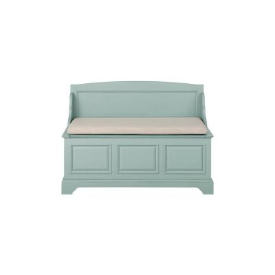 Sadie Antique Blue Storage Bench with Back