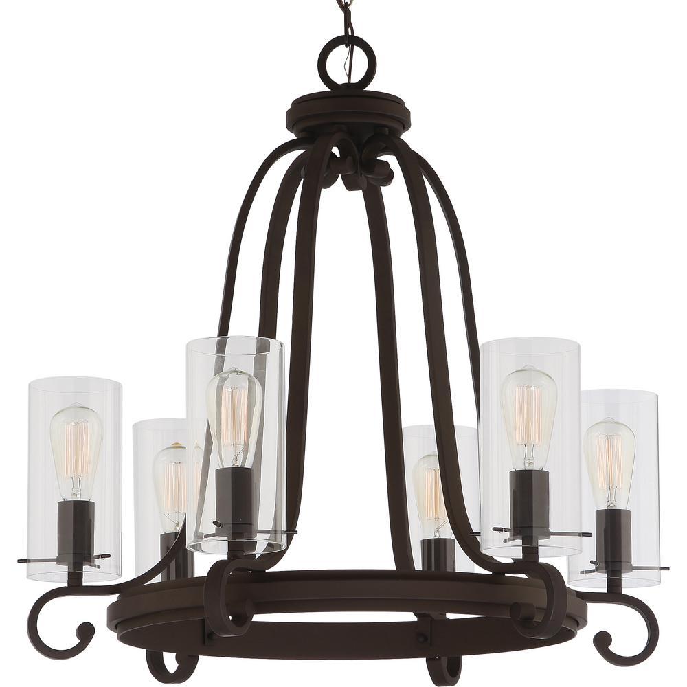 Regina 6 Light Antique Bronze Indoor Hanging Chandelier With Clear Gl Cylinder Shades