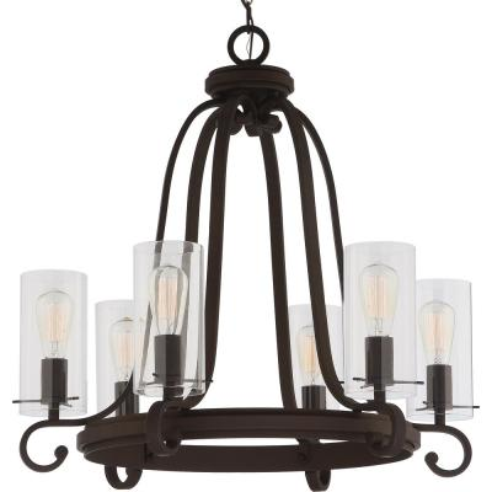 Regina 6-Light Antique Bronze Indoor Hanging Chandelier with Clear Glass Cylinder Shades