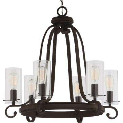 Regina 6-Light Antique Bronze Indoor Hanging Chandelier with Clear Glass Cylinder Shades