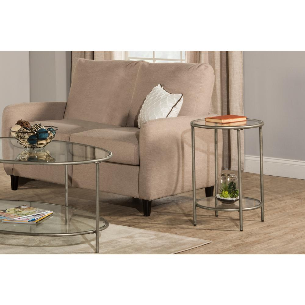 Hillsdale Furniture Corbin Silver End Table With Top Glass