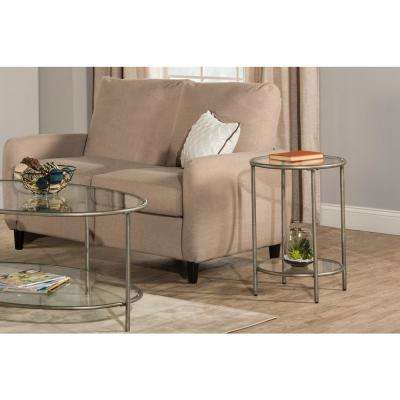 Corbin Silver End Table with Top Glass Shelf