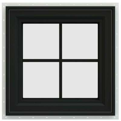 23.5 in. x 23.5 in. V-4500 Series Universal Casement Vinyl Window with Grids - Bronze
