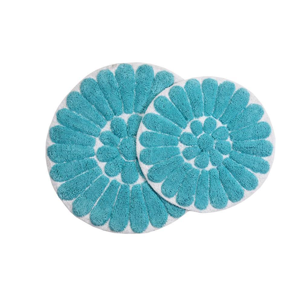 Chesapeake Merchandising Bursting Flower 24 in. x 24 in. and 30 in. x 30 in. Round 2-Piece Bath Rug Set in White/Aqua
