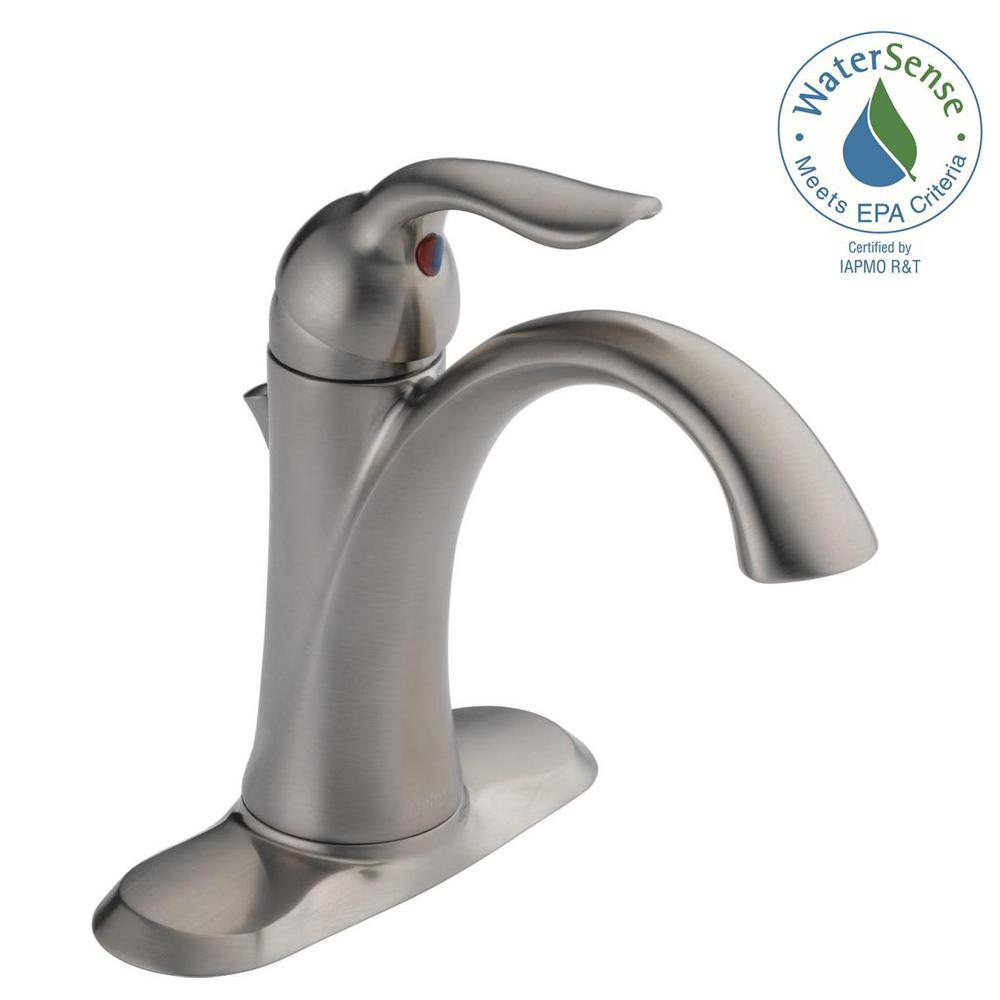Delta Lahara Single Hole Single-Handle Bathroom Faucet with Metal Drain Assembly in Stainless