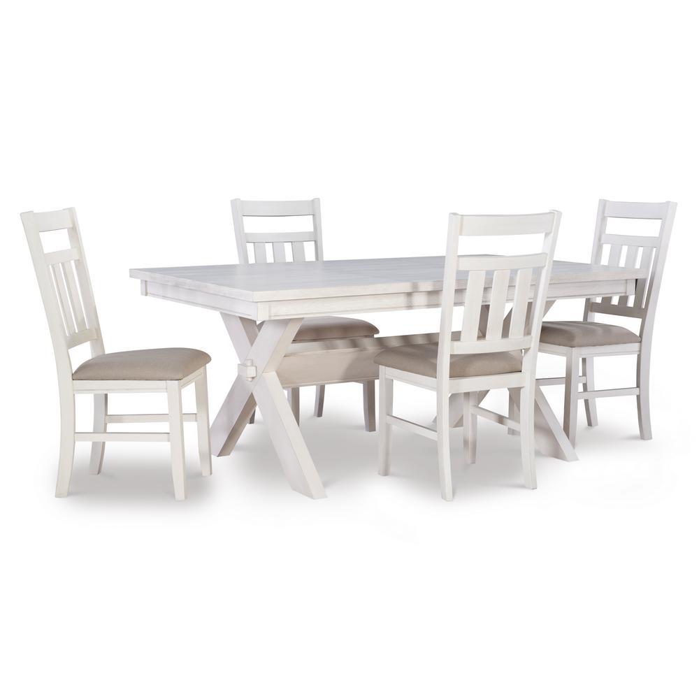 Krause Distressed White 5PC Dining Set