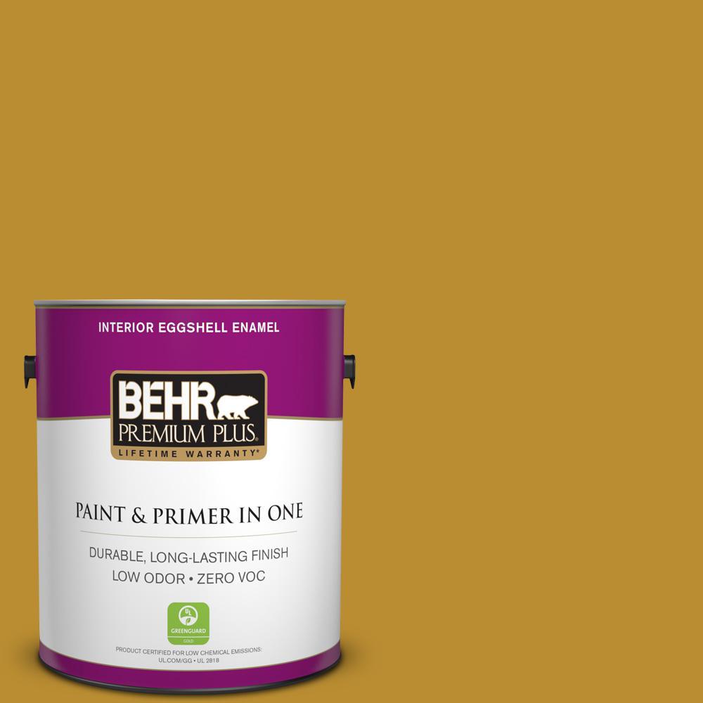 BEHR Premium Plus 1-gal. #360D-7 Brown Mustard Zero VOC Eggshell Enamel Interior Paint