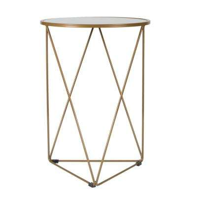 Metal Accent Triangle Gold Base Round Glass Top Table