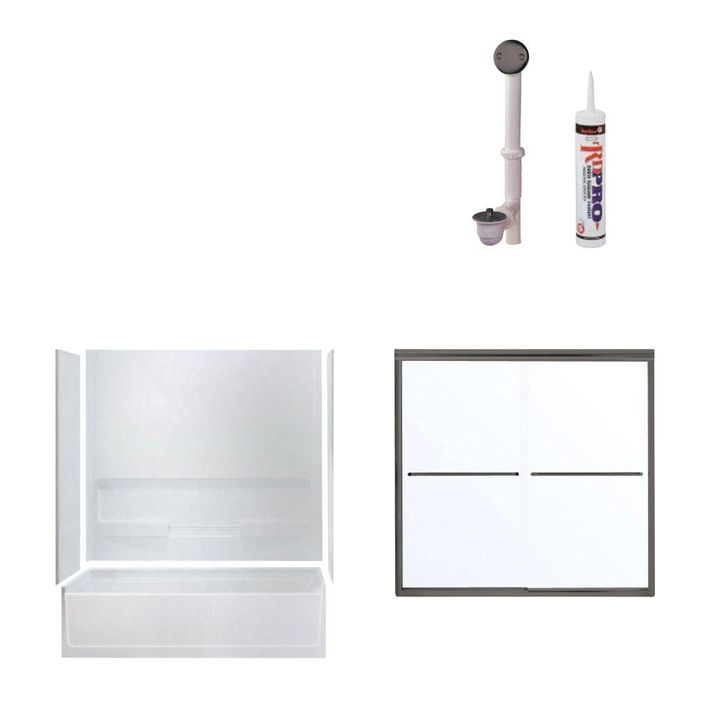 STERLING Advantage 60 in. x 30 in. x 72 in. Bathtub Kit with Right-Hand Drain in White with Oil Rubbed Bronze Trim-DISCONTINUED