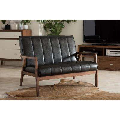 Nikko Mid-Century Black Faux Leather Upholstered Loveseat