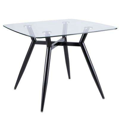 Clara Black Metal and Clear Glass Square Dining Table