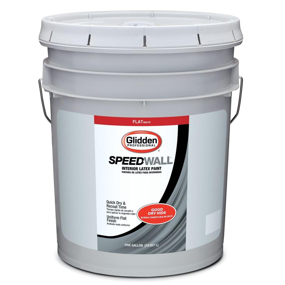Glidden Professional 5 gal. Speedwall White Flat Interior Latex Paint