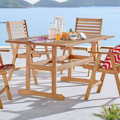 Hatteras 59 in. Rectangle Eucalyptus Wood Outdoor Dining Table in Natural