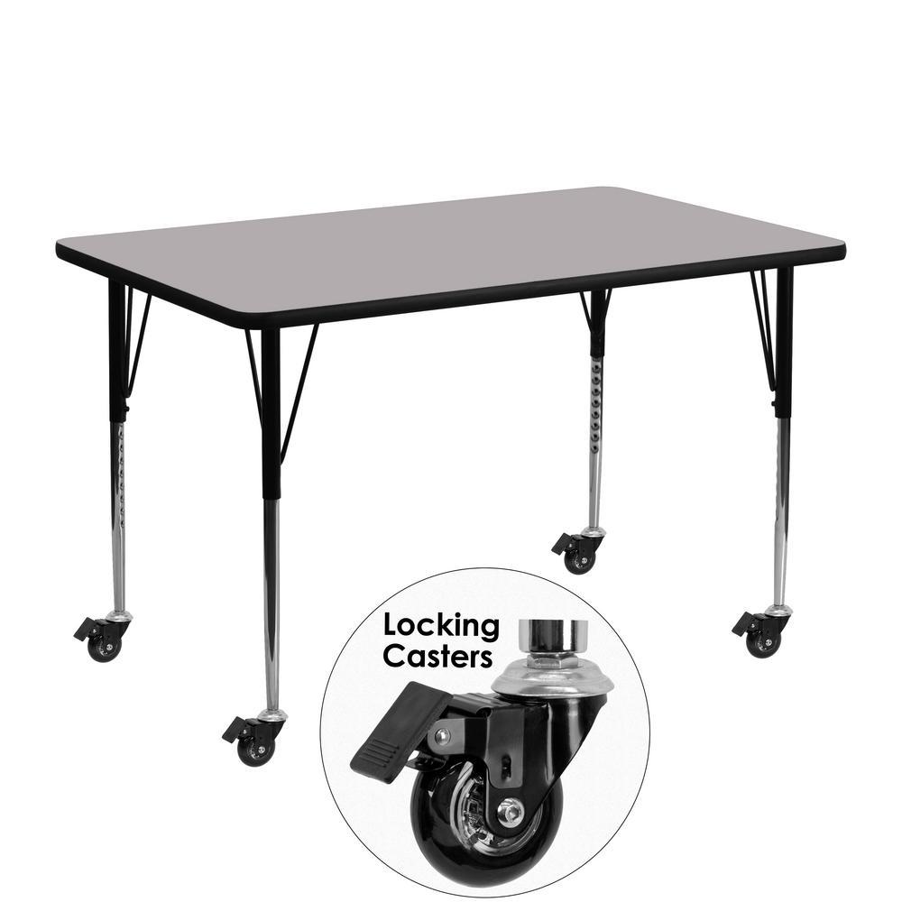 Flash Furniture Gray Kids Table XUA2448RECGYTAC
