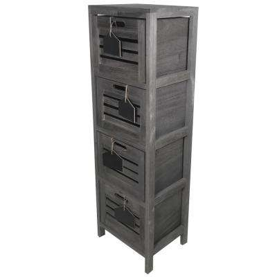 11.75 in. D x 9.5 in. W 38 in. H  Nutmeg Wood Cabinet with 4-Wood Baskets