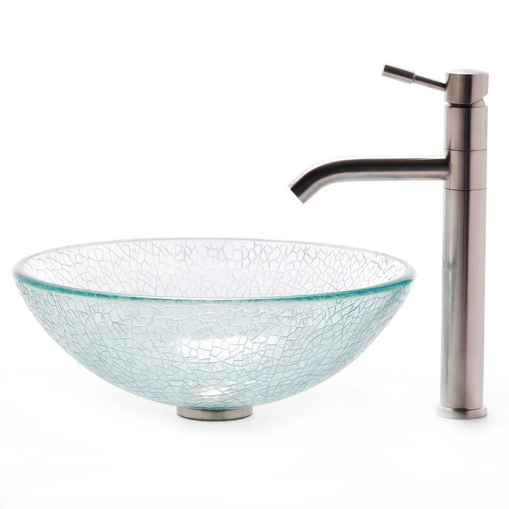 KRAUS Vessel Sink in Broken with Aldo Faucet in Stainless Steel