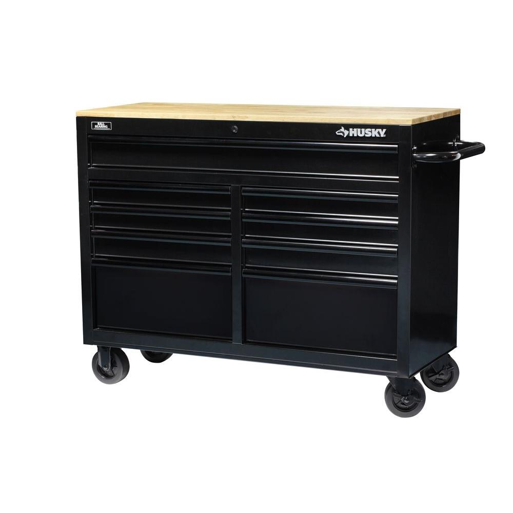 Husky 46 in. 9-Drawer Black Out Mobile Workbench with Solid Wood Top