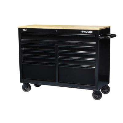 46 in. 9-Drawer Black Out Mobile Workbench with Solid Wood Top