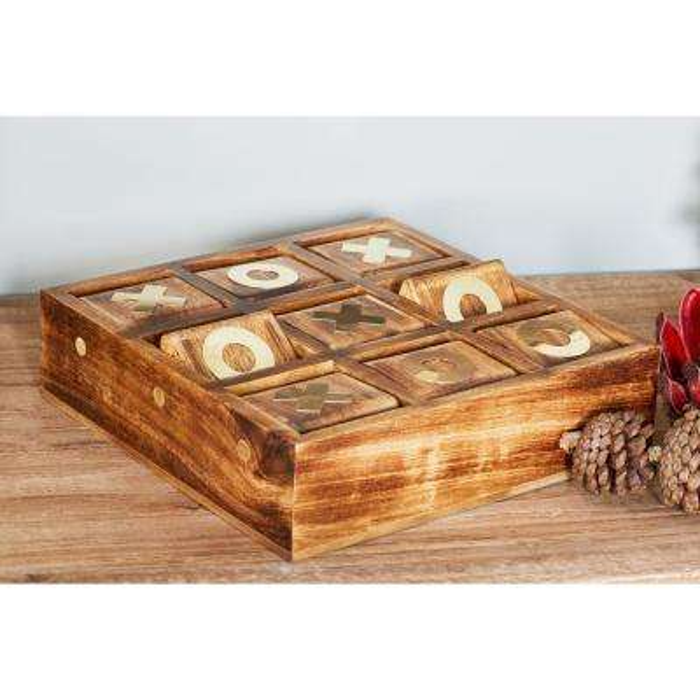Rustic Dark Brown Wood and Brass Tic Tac Toe Set
