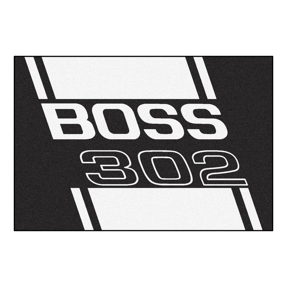 Ford - Boss 302 Black 8 ft. x 5 ft. Indoor Rectangle Area Rug