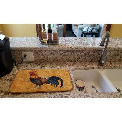 14 in. x 21 in. Multicolor Rooster Dish Drying Mat